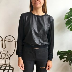 American apparel faux leather top